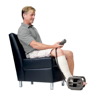 Treating foot fractures with a bone stimulator.